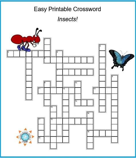 Fun Easy Printable Crossword, All About Insects!