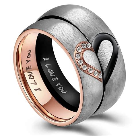 Matching Heart Couple Promise Rings Titanium Stainless