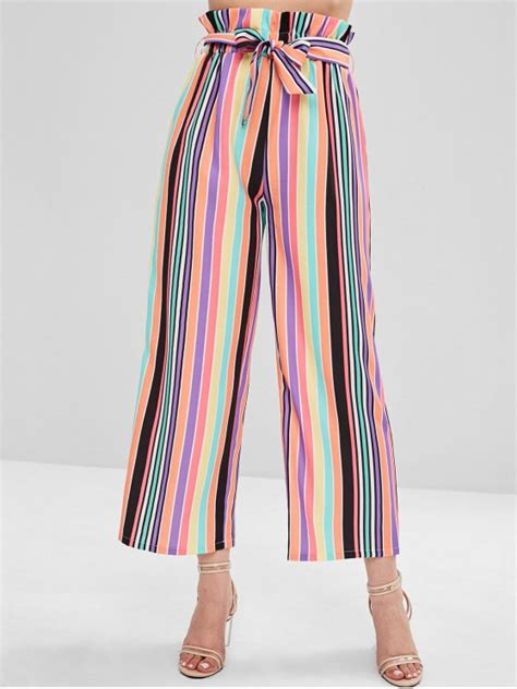 [31% OFF] 2021 ZAFUL High Waisted Colorful Stripes Wide