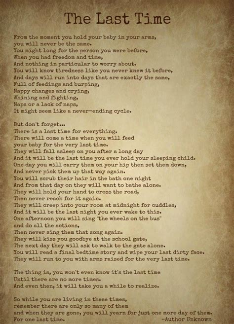 The Last Time- by Author Unknown- Beautiful Poem   Mom